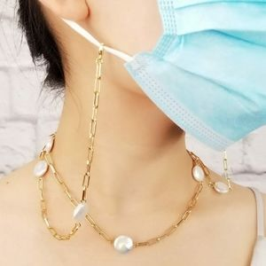 Jewelry - Natural Pearls Paper Clip Mask Holder Necklace NEW